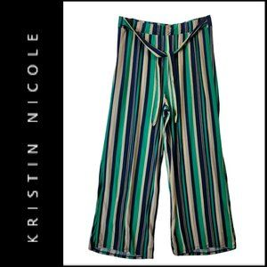 Kristin Nicole Women Stripe Wide Leg Stretch Pants